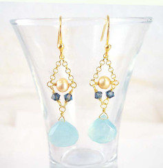 Gold Plated Sterling Silver Bead Chain Stone Drop Earrings, Blue Chalcedony
