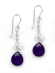 Sterling Silver Wire Loop Stone Drop Earrings, Amethyst
