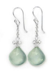 Sterling Silver Wire Loop Stone Drop Earrings, Blue Chalcedony