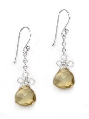 Sterling Silver Wire Loop Stone Drop Earrings, Citrine