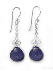 Sterling Silver Wire Loop Stone Drop Earrings, Iolite