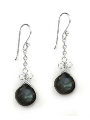 Sterling Silver Wire Loop Stone Drop Earrings, Labradorite