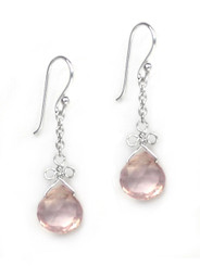 Sterling Silver Wire Loop Stone Drop Earrings, Rose Quartz