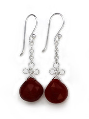 Sterling Silver Wire Loop Stone Drop Earrings, Red Chalcedony