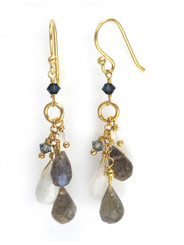 Gold Plated Sterling Silver Stone Cluster Drop Earrings, Labradorite