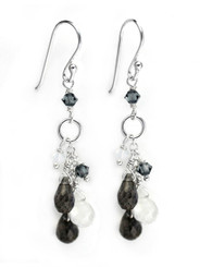 Sterling Silver Stone Cluster Drop Earrings, Labradorite