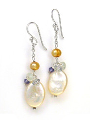 Oval Coin Pearl and Stone Cluster on Chain Drop Earrings, White