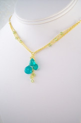 Gold Plated Sterling Silver Triple Tearstone Drops Chain Necklace, Blue Chalcedony
