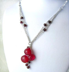Sterling Silver Triple Tearstone Drops Chain Necklace, Red Chalcedony