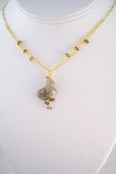 Gold Plated Sterling Silver Triple Tearstone Drops Chain Necklace, Smoky