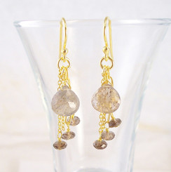 Gold Plated Sterling Silver Teardrop Stone Chain Beads Drop Earrings, Smoky