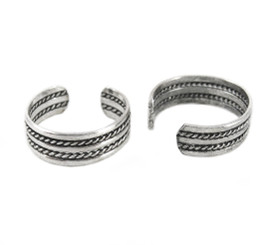 Sterling Silver Rope Stripe Band Ear Cuff Earring, One Piece
