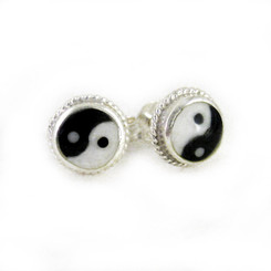 Sterling Silver Yin Yang Black and White Post Earrings, 6mm