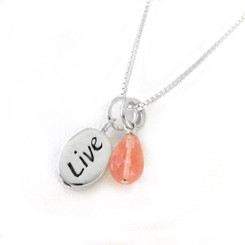 """Sterling Silver """"LIVE"""" Charm and Pink Drop Necklace"""