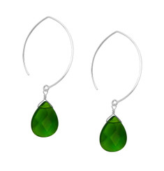 Teardrop Stone on Modern Elliptical Sterling Silver Hook Earrings, Green