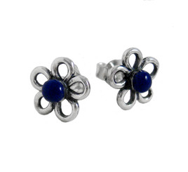 Sterling Silver Lapis Daisy Flower Post Earrings