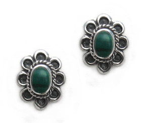 Sterling Silver Oval Flower Stone Inlay Stud Post Earrings, Malachite