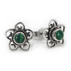 Sterling Silver Stone Flower Open Petals Stud Post Earrings, Malachite