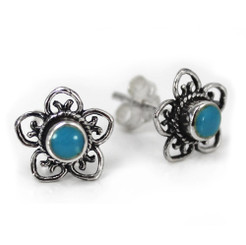 Sterling Silver Stone Flower Open Petals Stud Post Earrings, Turquoise