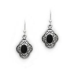 Sterling Silver Oval Stone Ornate Clover Frame Drop Earrings, Onyx