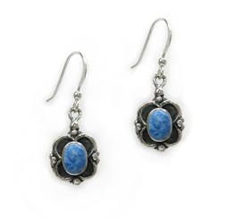 Sterling Silver Oval Stone Frame Drop Earrings, Denim Lapis