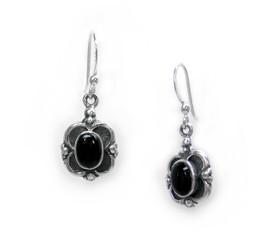 Sterling Silver Oval Stone Frame Drop Earrings, Onyx
