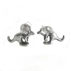 Sterling Silver Jumping Kangaroo Post Stud Earrings