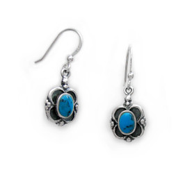 Sterling Silver Oval Stone Frame Drop Earrings, Turquoise