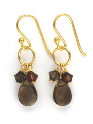 Gold Plated Sterling Silver Circle Charm Bead Stone Drop Earrings, Smoky