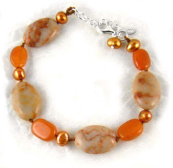 Stone and Pearl Knotted Sterling Silver Bracelet, Carnelian