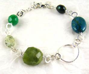 Stones and Link Sterling Silver Bracelet, Green Combo