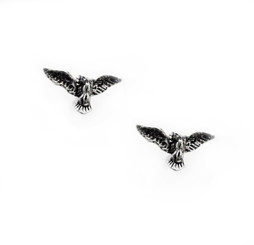 Sterling Silver American Bald Eagle Open Wings Stud Post Earrings