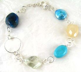 Stones and Link Sterling Silver Bracelet, Citrine Combo