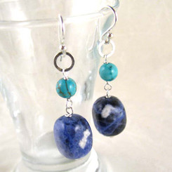 Stones and Link Sterling Silver Drop Earrings, Sodalite