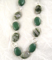 Stones and Link Sterling Silver Necklace, Aventurine