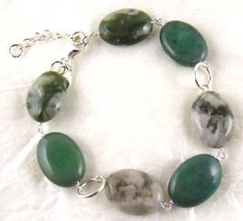 Stones and Link Sterling Silver Bracelet, Aventurine