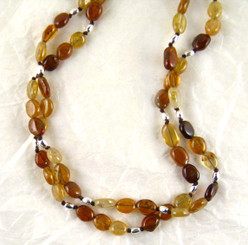 Double Strand Stone Sterling Silver Necklace, Hessonite Combo