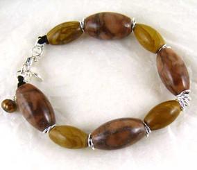 Stone Sterling Silver Bracelet, Brown Jasper