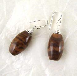 Stone Sterling Silver Drop Earrings, Brown Jasper
