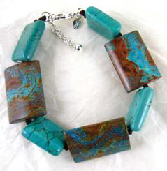 Stone Sterling Silver Bracelet, Blue Jasper