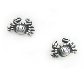 Sterling Silver Crab Crabby Stud Post Earrings