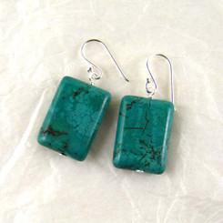 Stone Sterling Silver Drop Earrings, Howlite