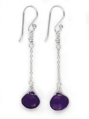 Sterling Silver Chain Stone Drop Earrings, Amethyst
