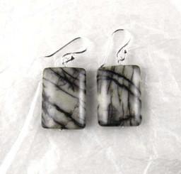 Stone and Sterling Silver Drop Earrings, Zebra Jasper