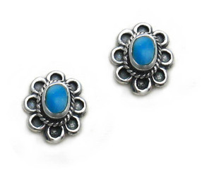 Sterling Silver Oval Flower Stone Inlay Stud Post Earrings, Turquoise