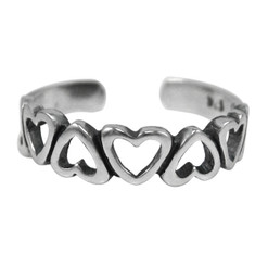 Sterling Silver Open Hearts Band Adjustable Toe Ring