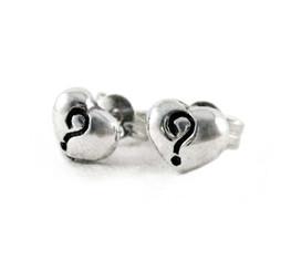 Sterling Silver Heart Question Mark Post Earrings