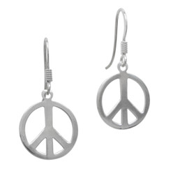 Sterling Silver Peace Sign Charm Drop Earrings