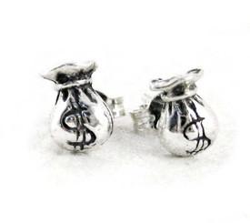 Sterling Silver Money Bag Post Earrings