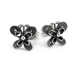 Sterling Silver Butterfly Stud Post Earrings